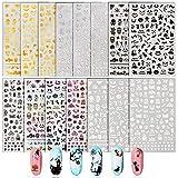 FLOFIA 15 Fogli Adesivi Unghie Halloween Nail Stickers Autoadesivi per Unghie Halloween Decalcomanie Decorazione Nail Art Fai da Te Adesivi per Unghie Halloween