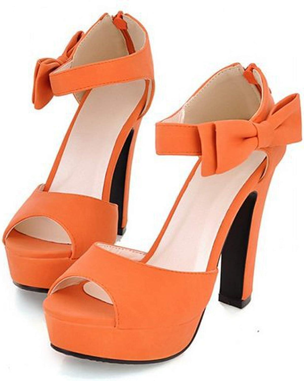 Size 31-43 New Summer Peep Toe Ankle Strap orange Sweet Thick High Heel Sandals Platform Lady Women shoes