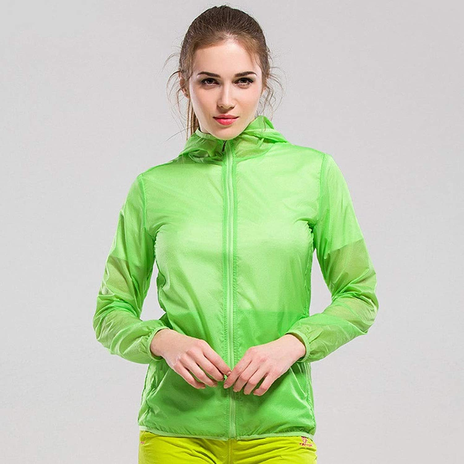 Breathable Lightweight Sun Predection Clothing Pure color QuickDrying AntiUV Skin Windbreaker (color   Green, Size   L)