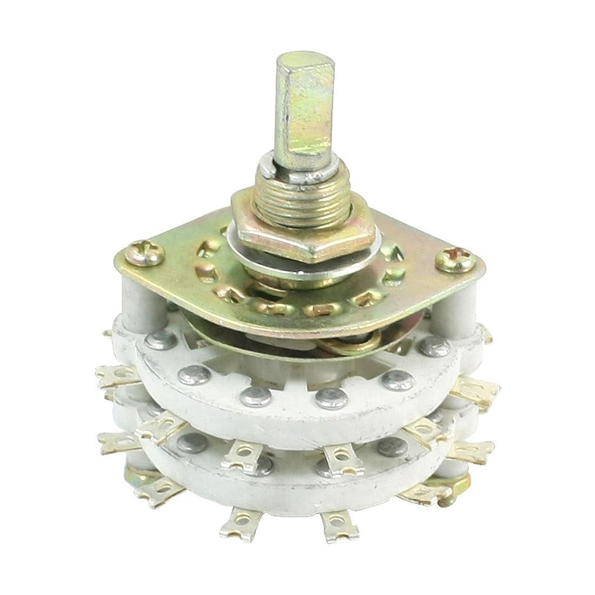 イソギンチャク処方する支援uxcell  ダブルデッキバンドチャンネル ロータリースイッチ スイッチ 4ポール5ウェイ 6mmの軸径