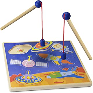 Imagination Generation Wooden Wonders Lift & Look Magnetic Space Adventure Game with 2 Gravity Rods (6 pcs)