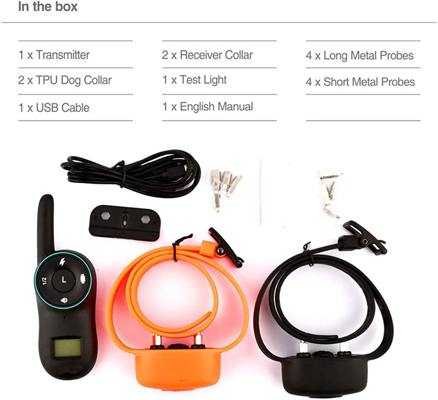 Electric Dog Training Collars IP67 Waterproof Rechargeable Dog Collar with 400m Remote Control Receiver Pet Training Collars,B