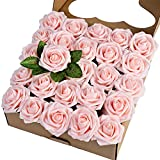 Breeze Talk Artificial Flowers Blush Roses 25pcs Realistic Fake Roses w/Stem for DIY Wedding...
