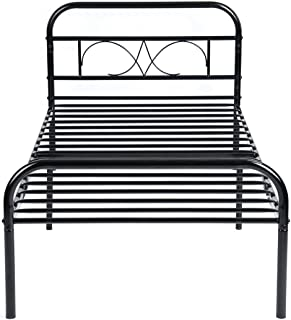 GreenForest Twin Bed Frame Metal Platform Single Mattress Base Bed with Headboard No Box Spring Needed, Black
