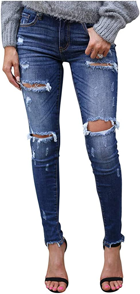 Jeans for Women,Women's Comfy High Waisted Skinny Hole Denim Button Stretch Slim Pants Calf Length Jeans