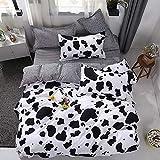 WAZA Juego de Funda Nórdica para Cama Suave Vaca Blanco y Negro Moda Juego de Fundas de Edredón Funda Nórdica, Fundas de Almohada y Sábana para Dormitorio (Full/Double)
