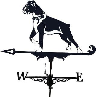 FPWW Weather Vane with Dog Ornament, Cast Iron Wind Vane Weather Vane for Roofs Dog Weathervane Garden Yard Patio Decor