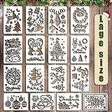 O-Kinee Pochoirs de Noël, Pochoirs de Noël réutilisables, 16 pièces pochoirs Flocon de Peinture en Plastique, Cadeaux de Noël pour Enfants