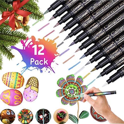 12 Colores Rotuladores metálicos,juego de surtidos para dibujo de álbum de fotos/regalo de cumpleaños por bricolaje Tarjeta para hacer bricolaje Pintura de roca Vidrio Permanentes Pintura para Tela