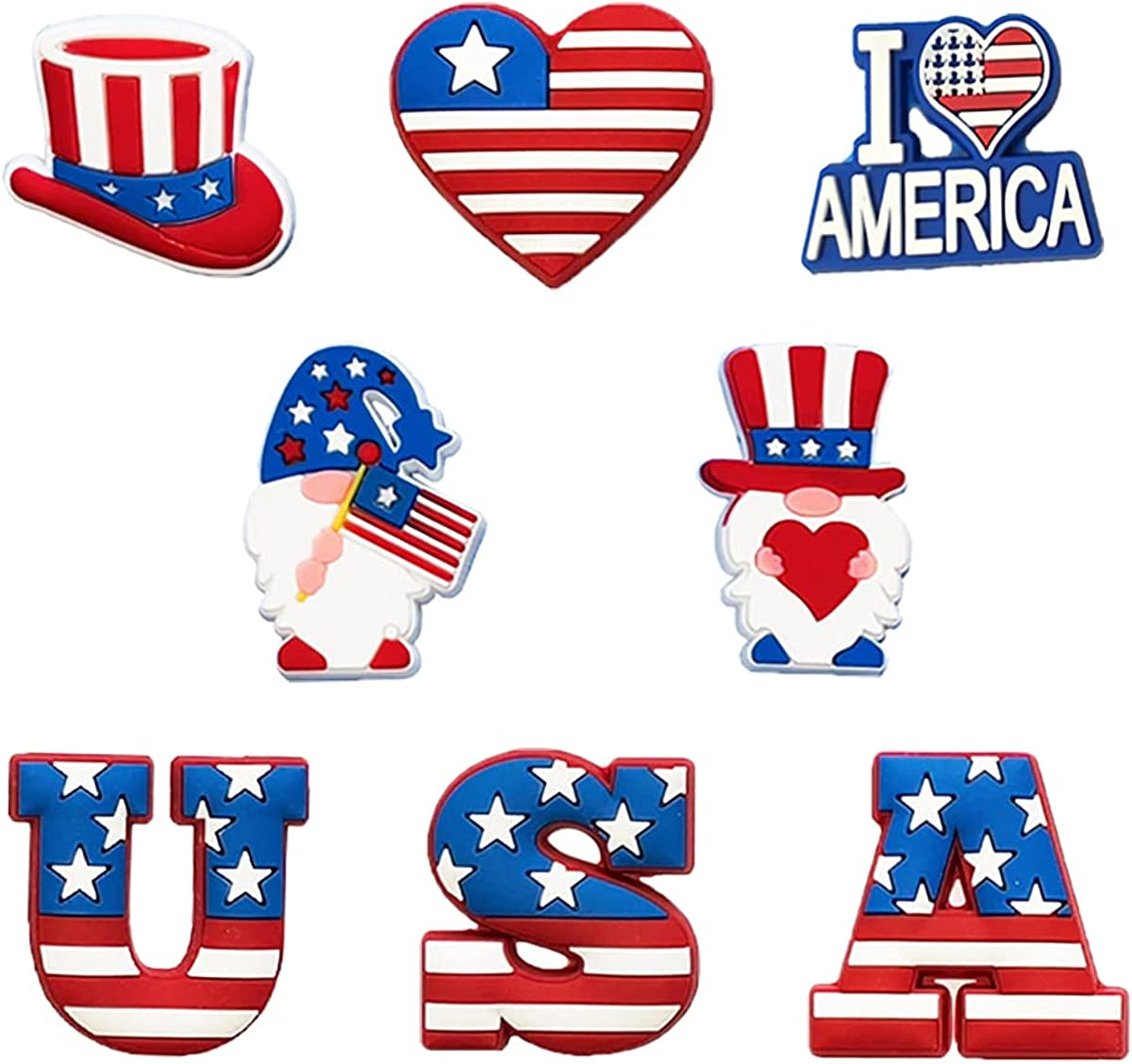 8PCS Shoe Charms Patriotic Gnomes July of 4th Independ Regular dealer Pins Year-end gift
