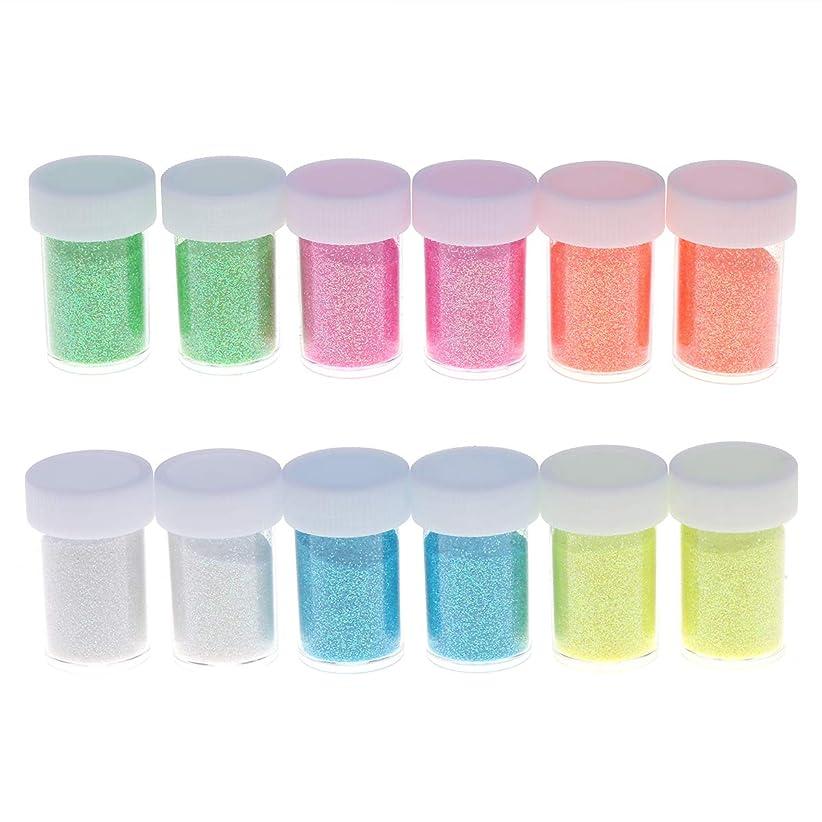 浴密度部分的Healifty 12パックグリッターパウダースパンコール用スライムアートクラフト耐溶剤グリッターパウダーシェーカーポリエステル用品ルーズアイシャドー