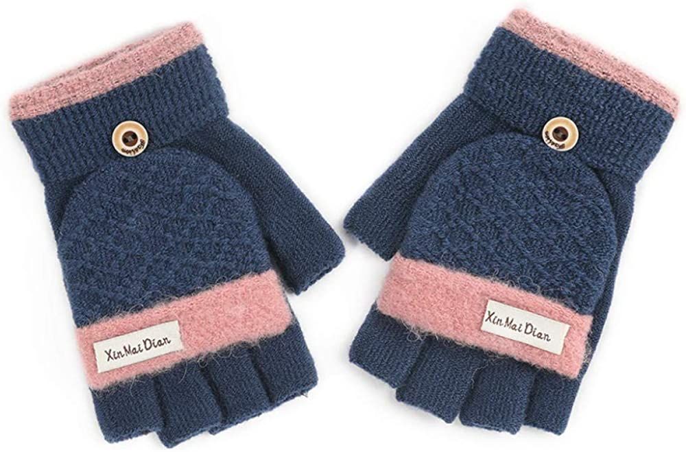 Women's Cold Weather Gloves Clamshell half finger touch screen plus velvet cute writing outdoor