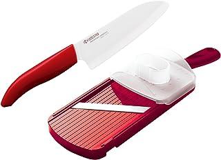 Kyocera Advanced Ceramic Revolution Series 5-1/2-inch Santoku Knife and Adjustable Slicer Set, Red