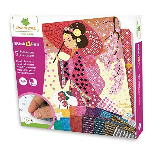 Sycomore-CRE7002 Mosaici autoadesivi per Bambini-5 Quadri Principesse-attività Creativa-Stick & Fun-A Partire dai 5 anni-Sycomore-CRE7002, Multicolore, CRE7002