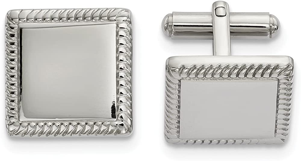 Solid Stainless Steel Men's Square Cufflinks - 18mm x 17mm