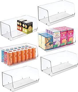 mDesign Extra Large Household Stackable Plastic Food Storage Organizer Bin Basket with Open Front for Kitchen Cabinets, Pa...