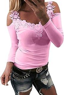 VENMO Blusen VENMO Damen Langarm O-Ausschnitt Spitze Pullover Patchwork Sweatshirt Bluse Damenmode Elegante Spitze Pullover Pulli Spitze Hemd Hemden Blusen Solide Lange Ärmel T Shirt Blusentop