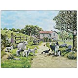 Border Collie and Sheep Countryside Glass Worktop Saver Chopping Food Serving Cutting Board