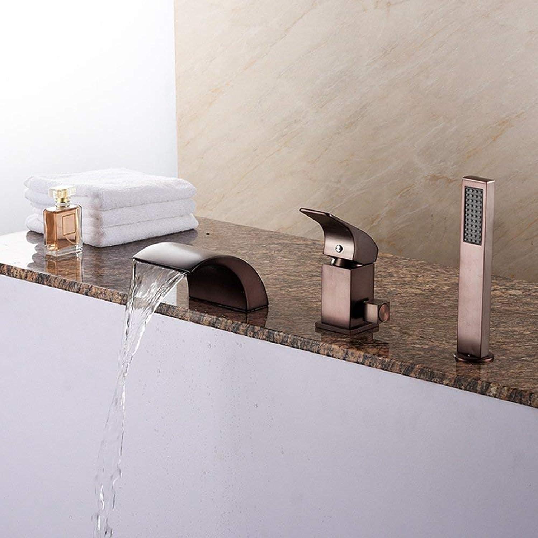 Giow Waschtischarmatur High-End-Armaturen aus leichtem Messing, Desktop-Wasserfall Waschbecken Badewanne Wasserhahn, Duschkopf Einhand-Warm- und Kaltwasser, Moderne Küche Bad Wasserhahn, 3-Loch-I