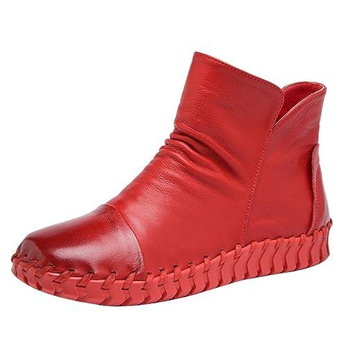 68979475d7 Mordenmiss Women's New Fall Winter Martin Flat Plain Toe Boots