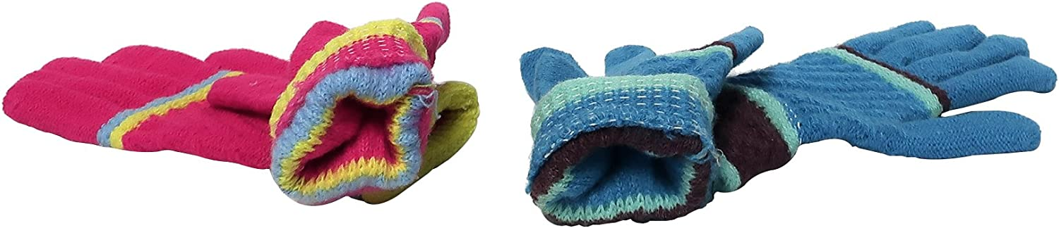 Set of 2 Women's/Young Ladies Fashion Winter Gloves~Striped~Vibrant Colors