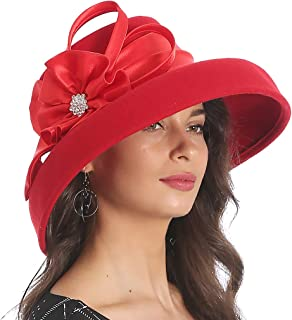 7edeae758d1 FORBUSITE Women Wool Felt Plume Church Dress Winter Hat