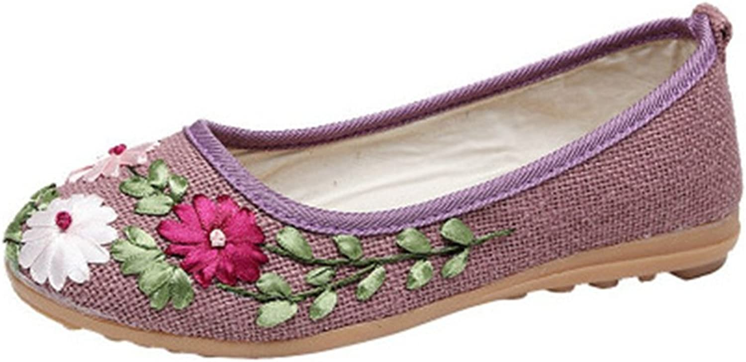 GIY Women's Loafers Flat Moccasin Exotic Slip-On Round Toe Linen Flowers Dress Casual Loafer Oxford shoes
