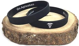 On Apixaban Hidden Message Bracciale in silicone nero con informazioni per emergenze mediche. 202mm wristband da uomo o do...