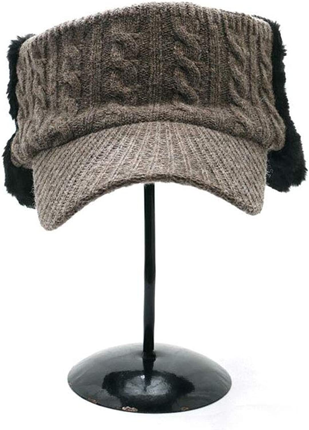 Earmuffs Wool hat, Female Winter top Woolen Warm hat Cute Knit hat Cap, Tide Cap, 5 colors,Brown