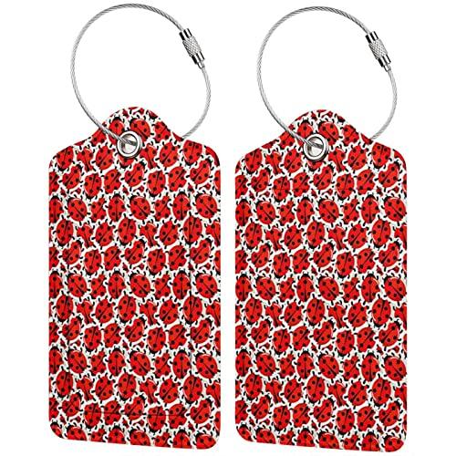 BCLYPBO Etiquetas de equipaje de cuero con patrón de mariquita, etiquetas de equipaje, etiquetas de maleta de cuero PU con bucle de acero inoxidable 2 piezas conjunto