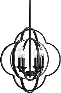VINLUZ Farmhouse Chandeliers 4-Light Black Finish Metal Globe Orbits Kitchen Island Pendant Lighting with Pivoting Interlocking Rings, Modern Ceiling Hanging Lamp for Dining Room Bedroom Hallway