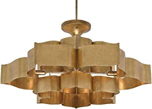 Currey and Company 9494 Grand Lotus - Six Light Chandelier, Antique Gold Leaf Finish