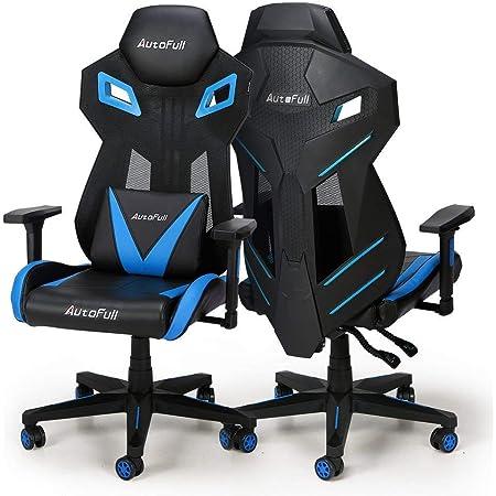 Autofull ゲーミングチェア メッシュ オフィスチェア - 無段階 約170°リクライニング 多機能 事務椅子 ヘッドレスト 腰痛対策 ハイバック デスクチェア プロシリーズ