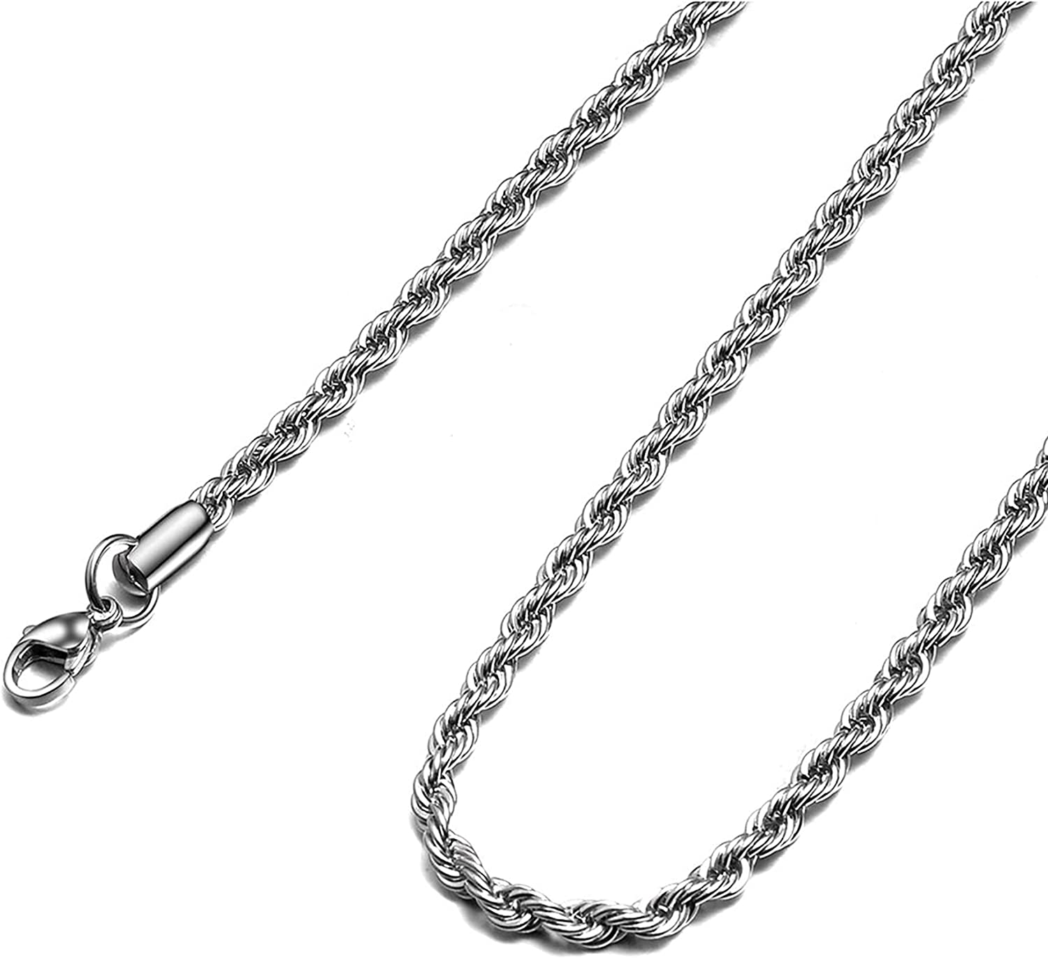 Rope Chain Necklace 2.5mm Bombing new Popular products work Steel 8mm Men Stainless