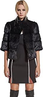 Women's Genuine Rabbit Fur Coat Winter Warm Fur Jacket with Half Sleeves