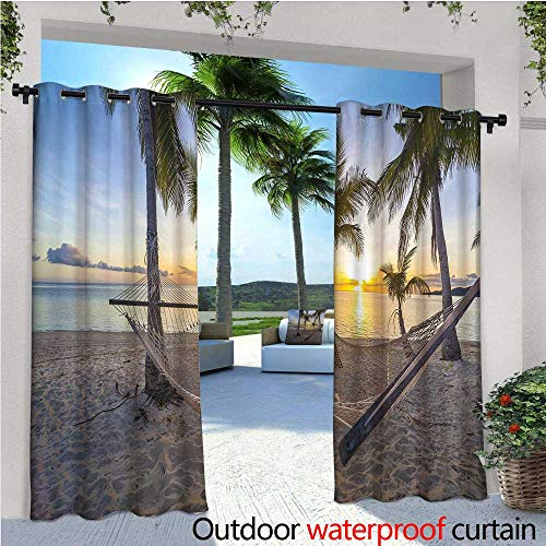 cobeDecor Tropical Indoor/Outdoor Single Panel Print Window Curtain Paradise Beach with Hammock and Coconut Palm Trees Horizon Coast Vacation Scenery Silver Grommet Top Drape W108 x L84 Multicolor