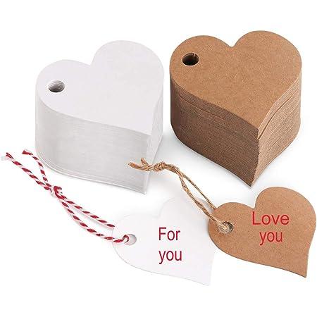 100pcs Coeur Papier Kraft tags Etiquette carte cadeau de mariage 20 m sans fil 2 Color