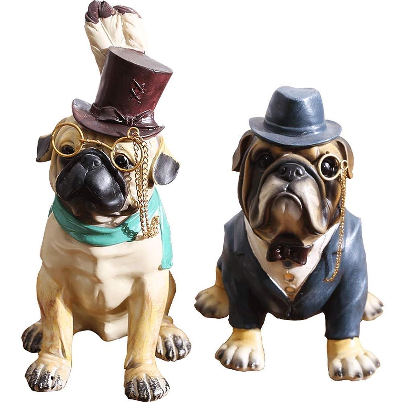 嫌悪太いクリエイティブ2ピース子犬装飾、北欧樹脂子犬装飾品クリエイティブリビングルーム犬の装飾品ワインキャビネットキャビネット犬家具工芸品
