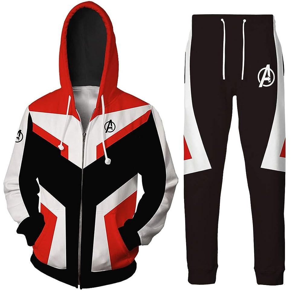 回想素晴らしい良い多くのマートPandolah 男女兼用 パーカー パンツ 上下セット プルオーバー ジャケット アベンジャーズ The Avengers コスチューム コスプレ 量子戦衣 コンセプト 3Dプリント