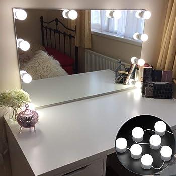 Hollywood Stil Schminktisch Beleuchtung f/ür Make-up Farbiges Licht Lampen Spiegel f/ür Led Spiegel 6 LED Lampen Wei/ßes Licht Schminktisch Lichter f/ür Kosmetikspiegel ILEBYGO LED Spiegelleuchte