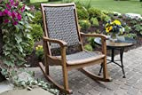 Outdoor Resin Wicker Interiors & Eucalyptus - Sturdy Rocking Chairs
