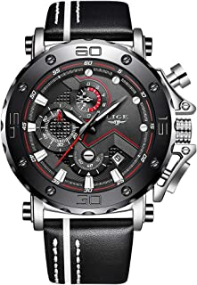 LIGE Watch Men's Fashion Waterproof Chronograph Analogue Quartz Stainless Steel Leather Bracelet Watches