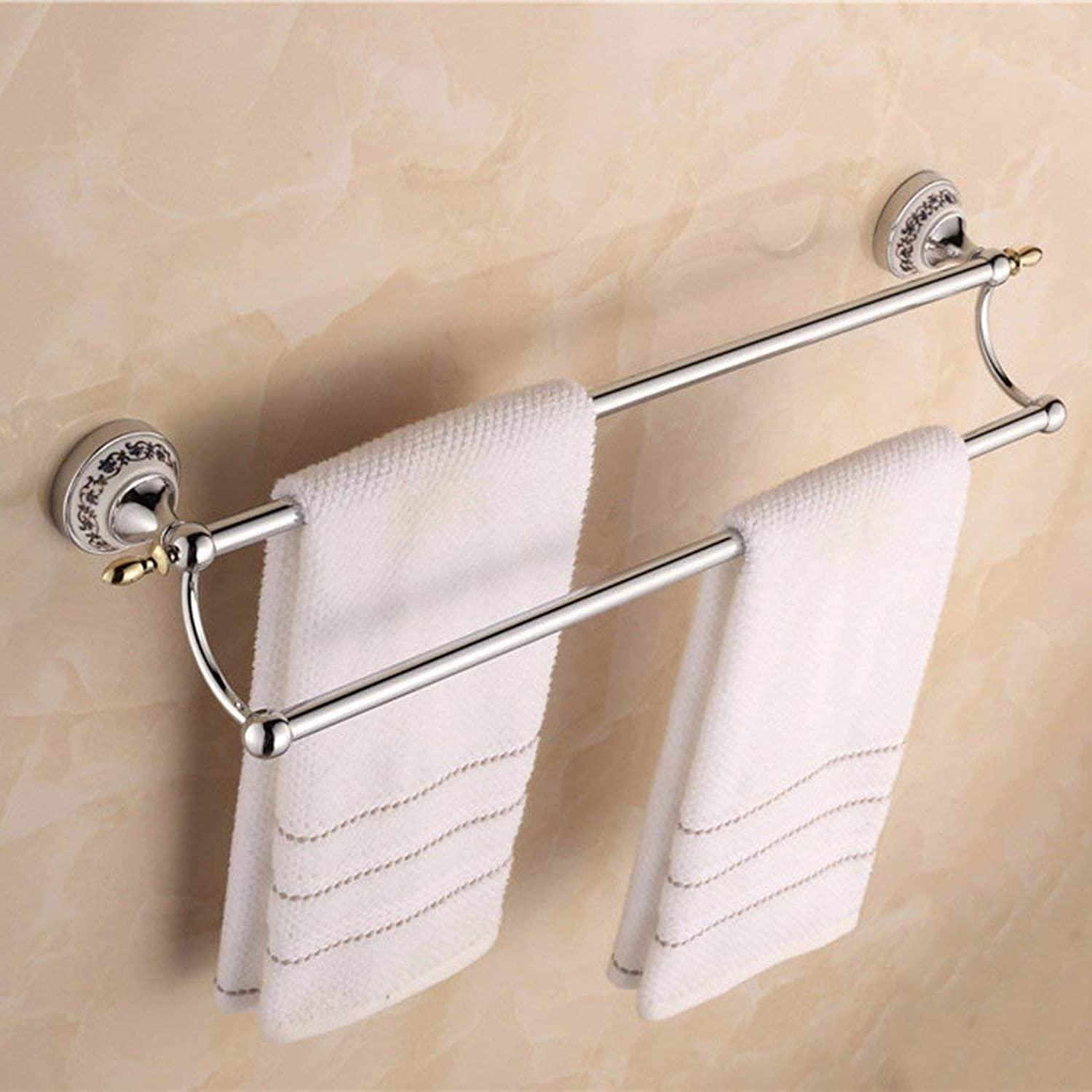 Of Contemporary European Style of Christmas bluee and White and Chrome Accessories for Bathroom in Porcelain, Simple and Double Paper Holder Bar,Double Pole