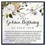 Regalo de 70 cumpleaños para mujer, regalo de cumpleaños para mujer de 70 años, regalo para su Bday, ideas de regalo para 70 cumpleaños, joyería para mujeres de 70 años, collar de perlas de Swarovski