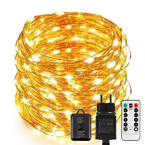 Lichterkette außen, ECOWHO 20M 200 LED Lichterkette Strombetrieben mit Timer & Fernbedienung, IP68 Wasserdicht Kupferdraht Lichterketten für Zimmer, Weihnachten, Halloween deko (Warmweiß)