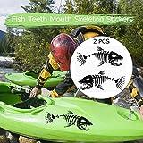Blusea 2pcs Fish Pegatina Kayak Dientes Pegatinas Boca Pez Esqueleto Pegatinas Barco de Pesca Canoa Kayak Gráficos Accesorios