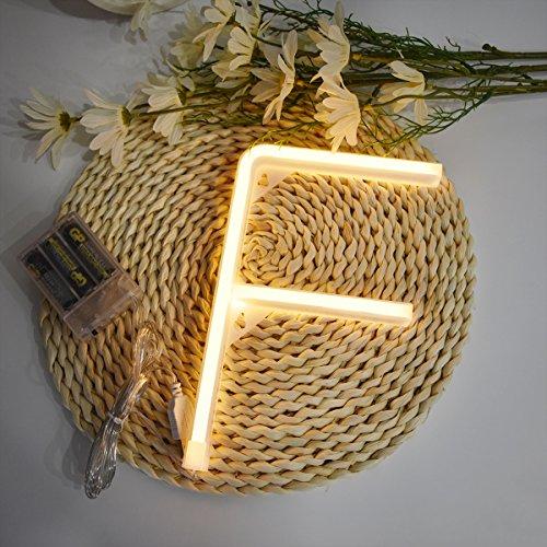 Neon Buchstaben Zeichen Nacht lichter LED Alphabet Neon Art Lichter Lampe Wand Dekor Batteriebetrieben und USB Powered für Hochzeit Geburtstag Hochzeit Bar Schlafzimmer Indoor Decor (F)