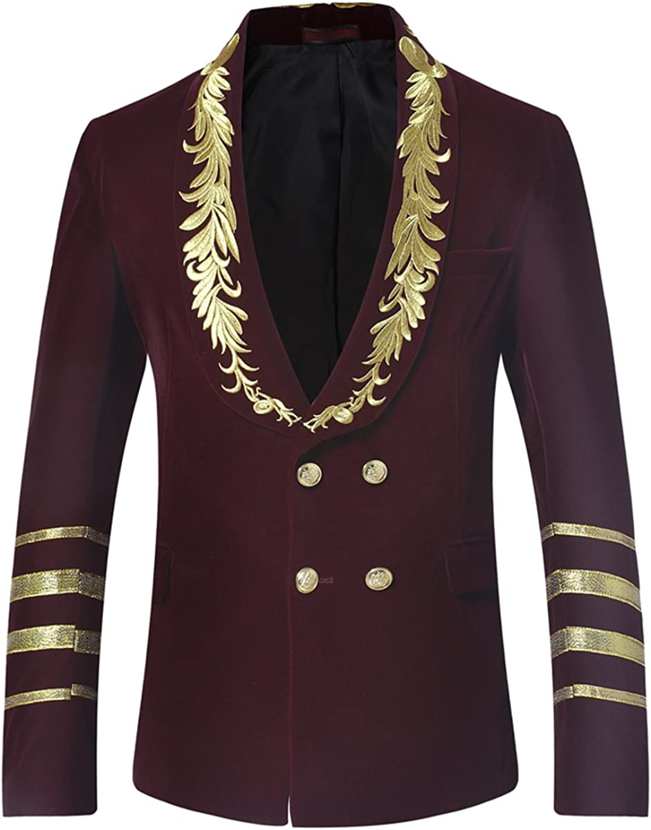 Mens Dress Jacket Double Breasted Shawl Collar Tuxedo Dinner Blazer Wedding Party Prom