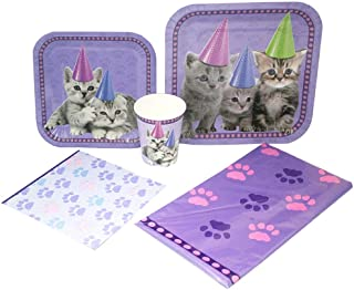 Blue Orchards Kitten Deluxe Party Packs (70 Pieces for 16 Guests!), Kitten Party, Cat Birthday Supplies