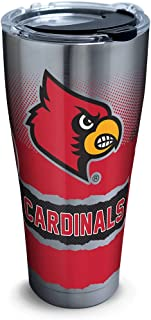 Tervis 1266004 Louisville Cardinals Knockout Stainless Steel Tumbler with Clear and Black Hammer Lid 30oz, Silver